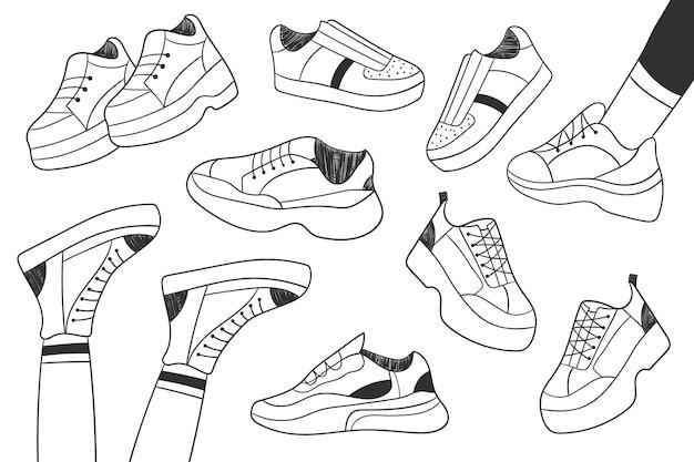 스포츠 신발 컬렉션입니다. 벡터 스케치 신발을 설정합니다. 신발 세트입니다. 벡터 일러스트 레이 션