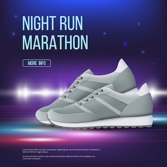 Sport shoes poster. run sneakers modern trendy colored footwear advertising placard  realistic template