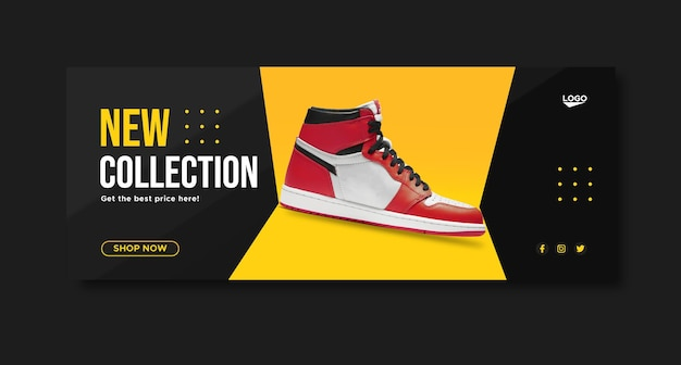 Sport shoes promotion social media facebook banner template