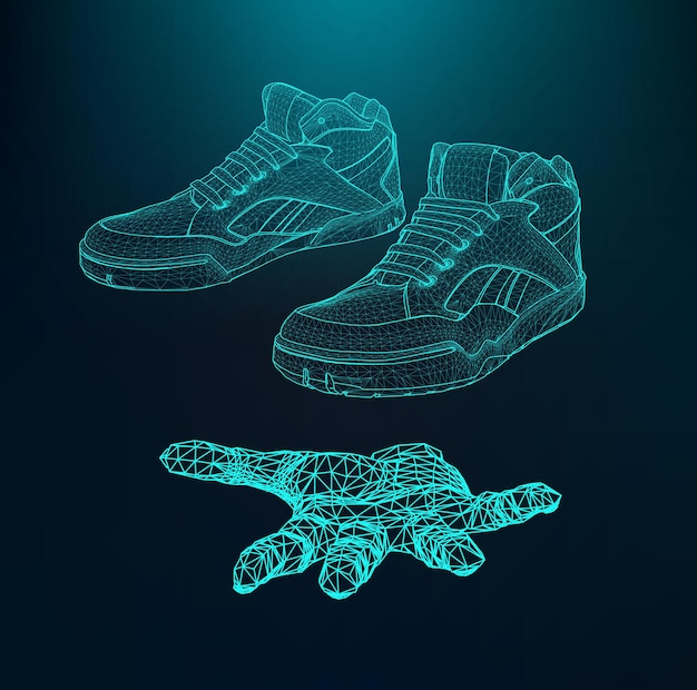 Sport shoes for running on the arm. the hand holding a shoes. scope of lines and dots.
