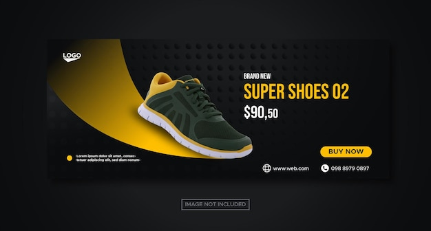 Sport shoes social media facebook banner template for promotion