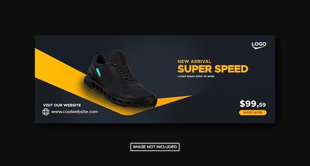 Sport shoes social media facebook banner template