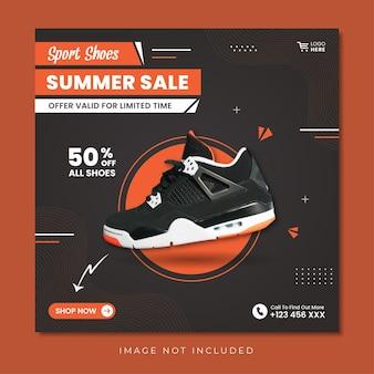 Sport shoes summer sale social media post design template