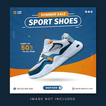 Sport shoes summer sale social media post template