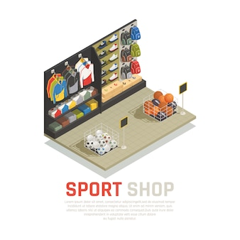 Sport shop isometric composition shelves with back packs clothing and shoes gaming equipment