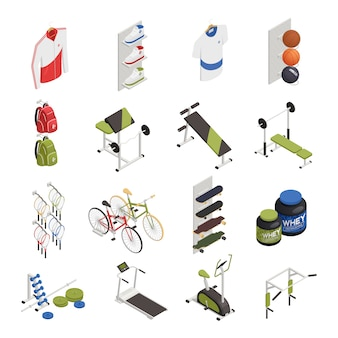 Спортивный магазин с тренажерами, одеждой и обувью, велосипедами и скейтбордами, элементы питания изометрические