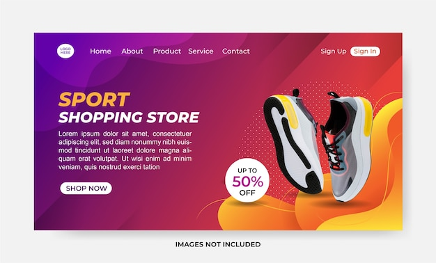 Sport shopping store landing page