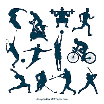 Sport silhouettes in hot actions