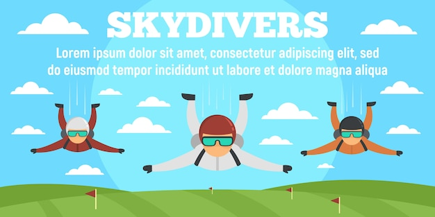 Sport skydivers concept banner template, flat style