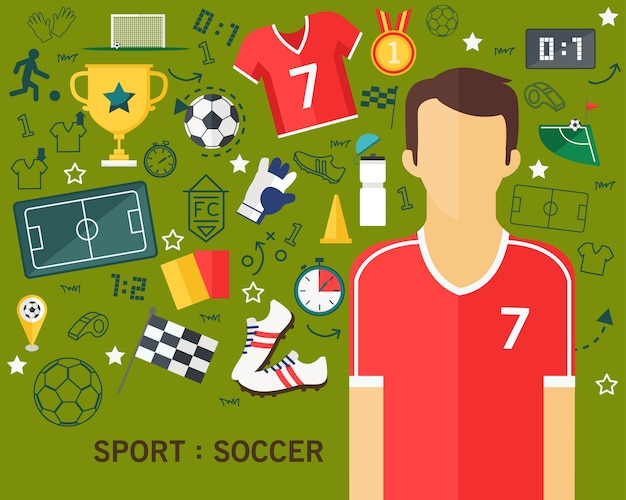 Sport soccer concept flat icons background