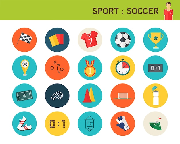 Sport soccer concept flat icons.