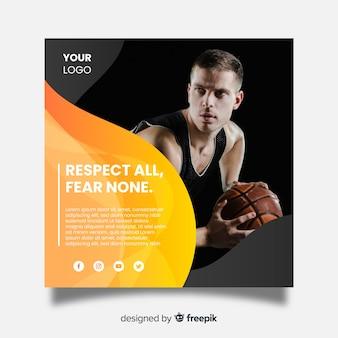 Banner quadrato di sport con foto