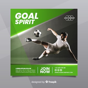 Sport square banner with photo