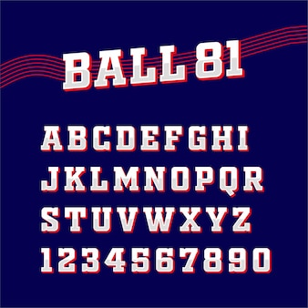 Sport square classic font typography