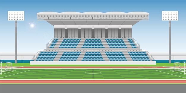 Sport stadium grandstand to cheering sport with soccer field