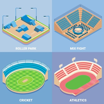 Sport stadium vector flat isometric set