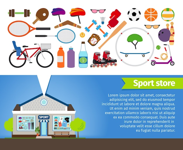 Sport store. sports equipment and sports clothing. volleyball football and bowling, skittles and basketball, racquet and bicycle.