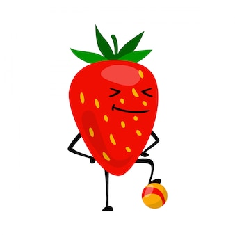 Sport strawberries character playing football.