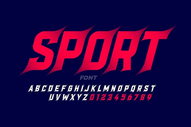 Sport style font, alphabet letters and numbers