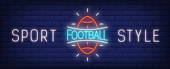 Sport style neon sign. Glowing American football ball and bright inscription