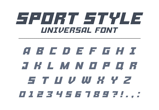 Спортивный стиль универсальный тип шрифта. быстрая скорость, футуристический, технологичный, будущий алфавит. буквы и цифры для военных, промышленных, электрических гоночных логотипов. современный минималистичный шрифт