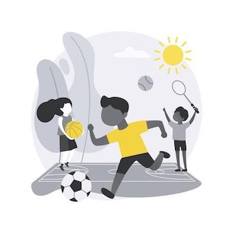 スポーツサマーキャンプ。マルチスポーツキャンプ、アクティブな夏、運動能力、トレーニング経験、スキル開発、競争力のあるゲーム。