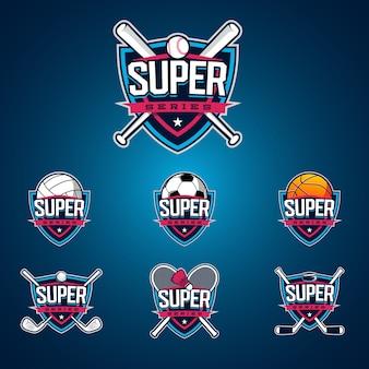 스포츠 슈퍼 시리즈. 프리미엄 현대 로고 세트.