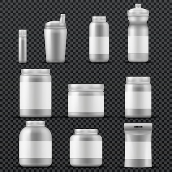 Sport supplement plastic jar containers for drinks and powder. vector templates isolated. sport nutrition packaging, container with sport supplement for bodybuilding illustration