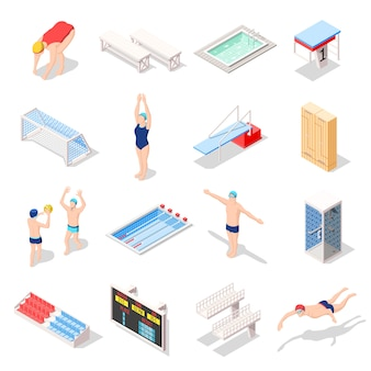 Sport swimming pool isometric icons