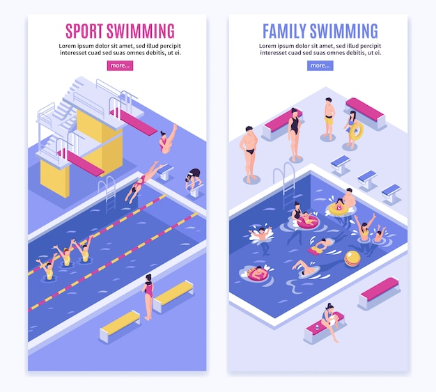 Sport swimming vertical banner set