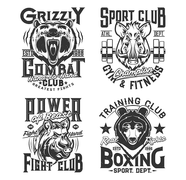 Sport t shirt prints, animals, gym, boxing club and street fighting vector emblems. fitness strong power quotes, wild animals mascot badges of grizzly bear and boar with iron barbell for t-shirt print