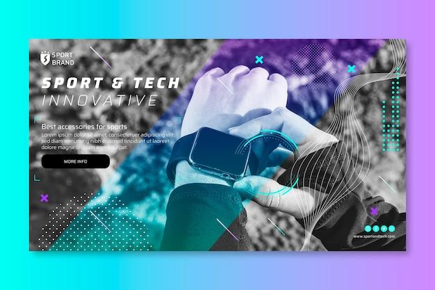 Modello di banner orizzontale sport e tecnologia
