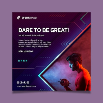 Sport and tech squared flyer template