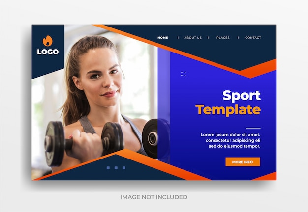 Sport template banner landing page website template vector eps