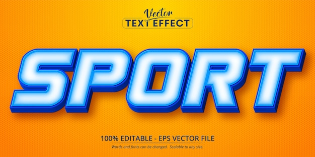 Sport text, cartoon style editable text effect