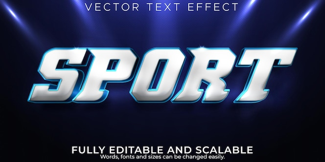 Sport text effect, editable metallic and shiny text style