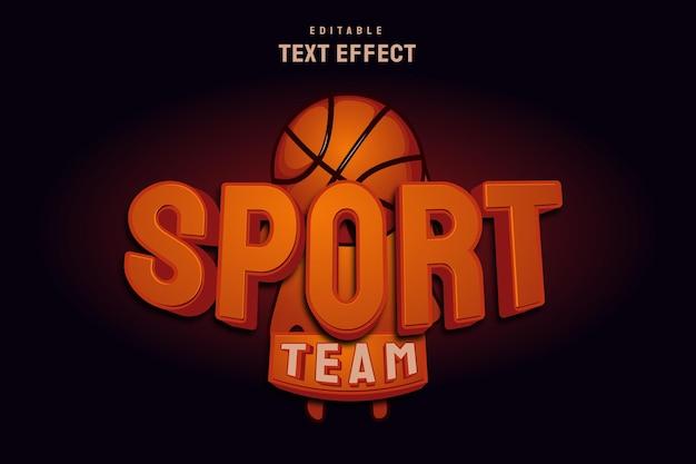 Спортивный текстовый эффект с баскетбольной иллюстрацией