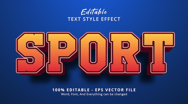 Sport text on headline event poster style, editable text effect