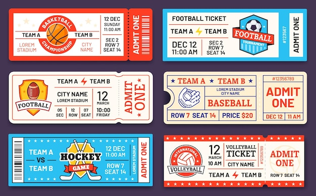 Sport tickets. baseball, american football, soccer, hockey and basketball game ticket templates. match invite coupons with logo vector set. entrance invitation and admission collection