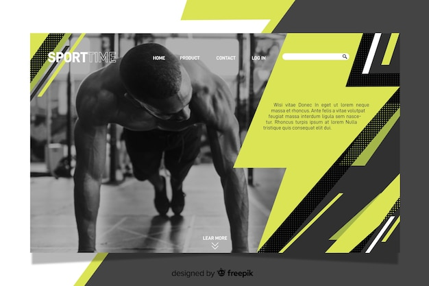 Sport time landing page with photo