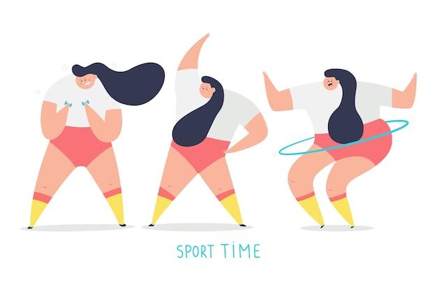 Иллюстрация концепции вектора времени спорта с характером милой девушки делая упражнения, изолированные на белом пространстве.