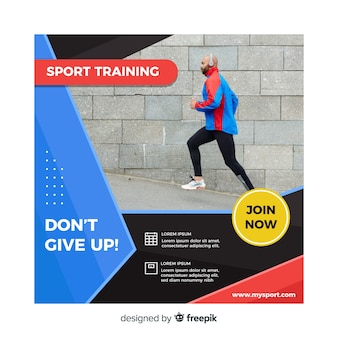 Sport training flyer with photo