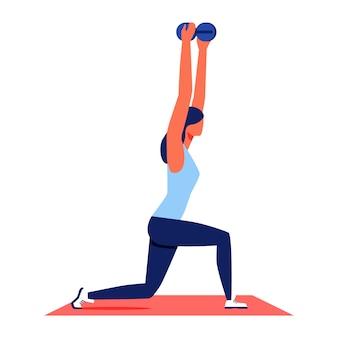Спортивная тренировка для женщин. женщина поднимает гантели
