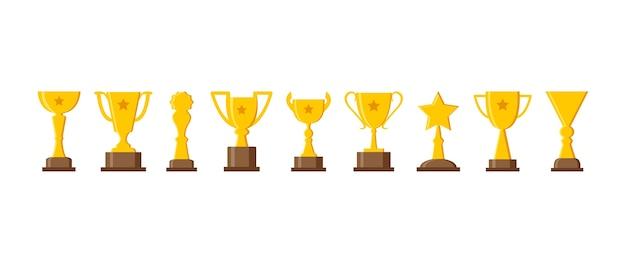스포츠 트로피 컵, 황금 상, 챔피언 세트. 삽화