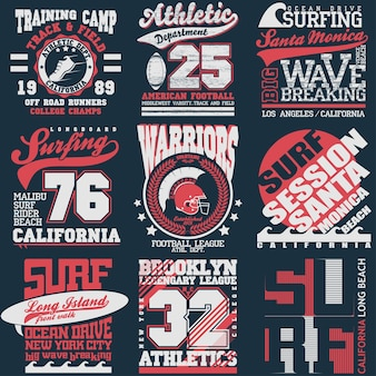 スポーツタイポグラフィグラフィックエンブレムセット、tシャツ印刷デザイン。アスレチックオリジナルウェア、スポーツウェアアパレル向けヴィンテージプリント