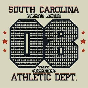 Sport typography, university athletic dept. t-shirt graphics, vintage print for sportswear apparel. vector
