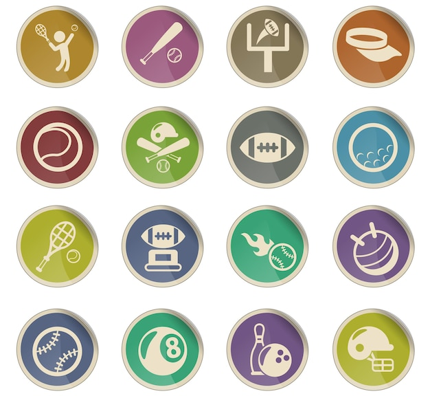 Sport vector icons in the form of round paper labels