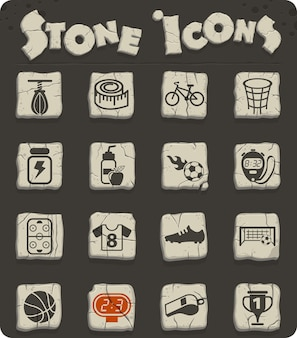 Sport vector icons on stone blocks in the stone age style for web and user interface design