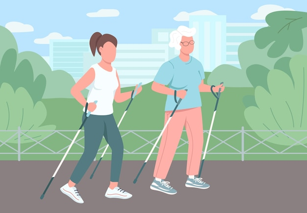 Sport walking flat color . different age women. retired grandmother exercise in park. lady workout outside. female relatives 2d cartoon characters with landscape on background