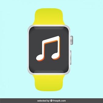 화면에 음악 메모가있는 스포츠 시계